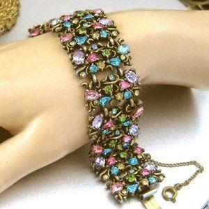 Vtg HOLLYCRAFT Bracelet 1950 pastel Rhinestones